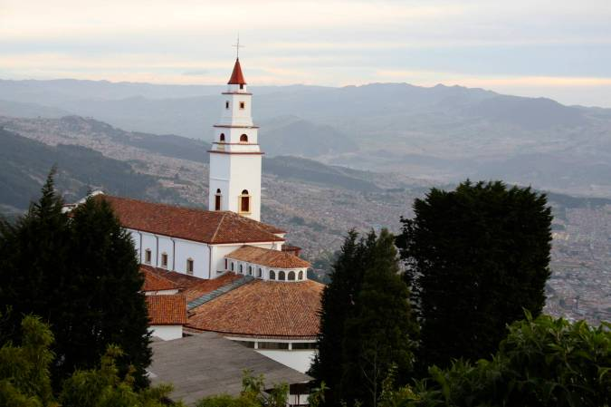 The church on Cerro Monserrate with Bogota in the background, Colombia