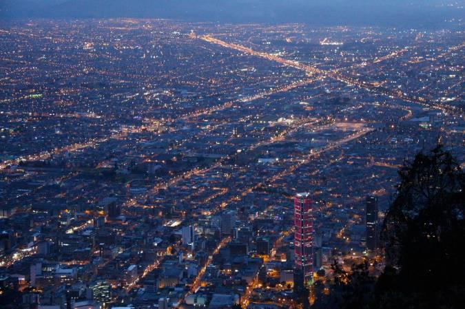 Bogota illuminated, seen from Cerro Monserrate, Colombia