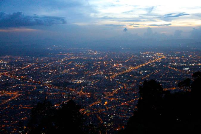 Bogota illuminated, seen from Cerro Monserrate, Colombia