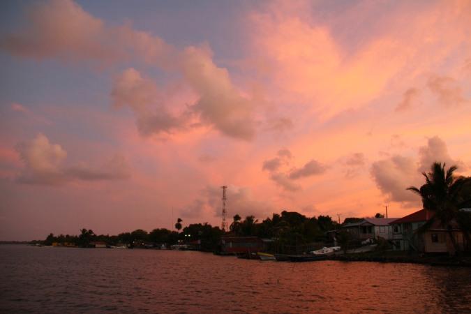 Sunset over Pearl Lagoon, Nicaragua