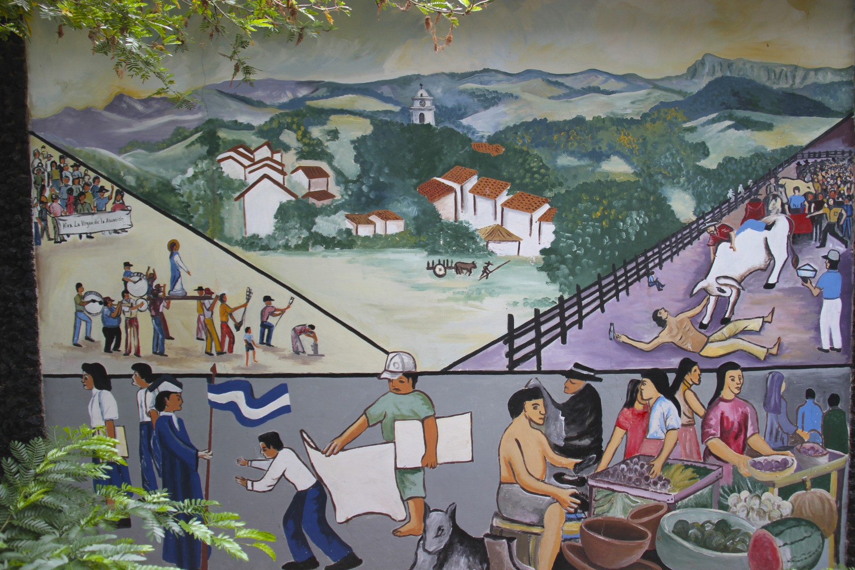 Two boats a plane a stopping bus and a share taxi from for Mural nicaraguense