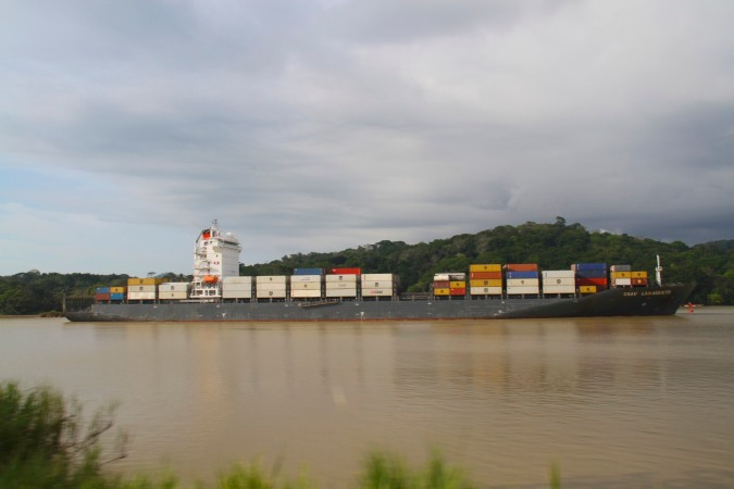 Ship on the Panama Canal from the Panama Canal Railway, Panama