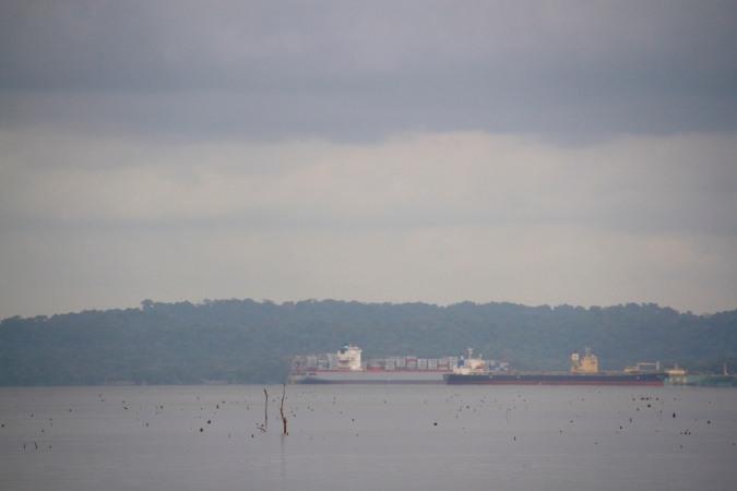 Ship on the Panama Canal from the Panama Canal Railway, Panama