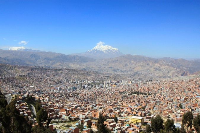 La Paz with Illimani in the background, Bolivia