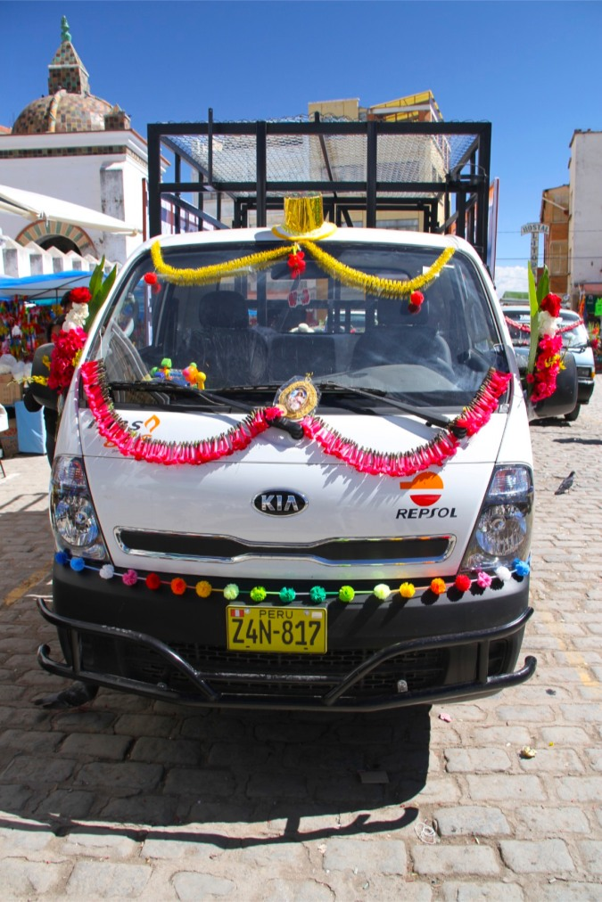 Blessing of the cars outside Copacabana cathedral, Bolivia