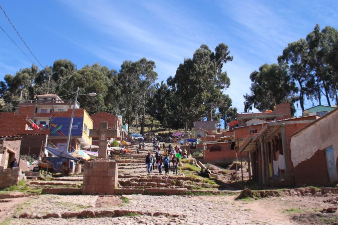 Start of the stations of the cross, Cerro Calvario, Copacabana, Bolivia