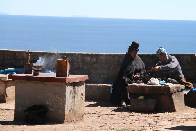 Traditional priest, Cerro Calvario, Copacabana, Bolivia
