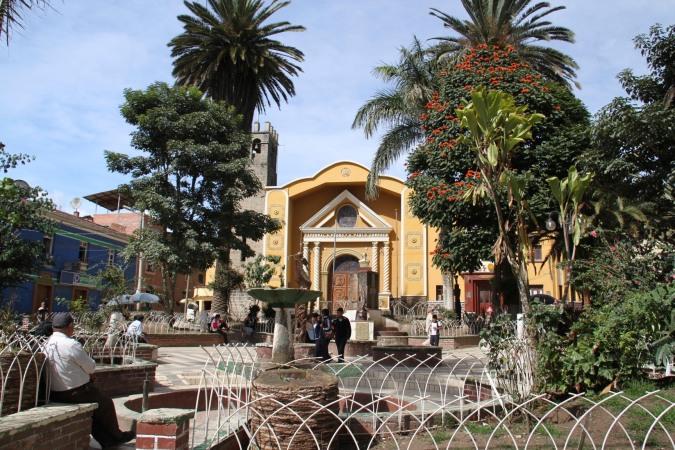 Coroico's main plaza, Bolivia