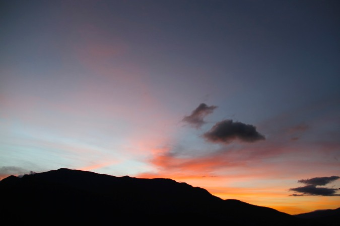Sunset over the Yungas from Coroico, Bolivia