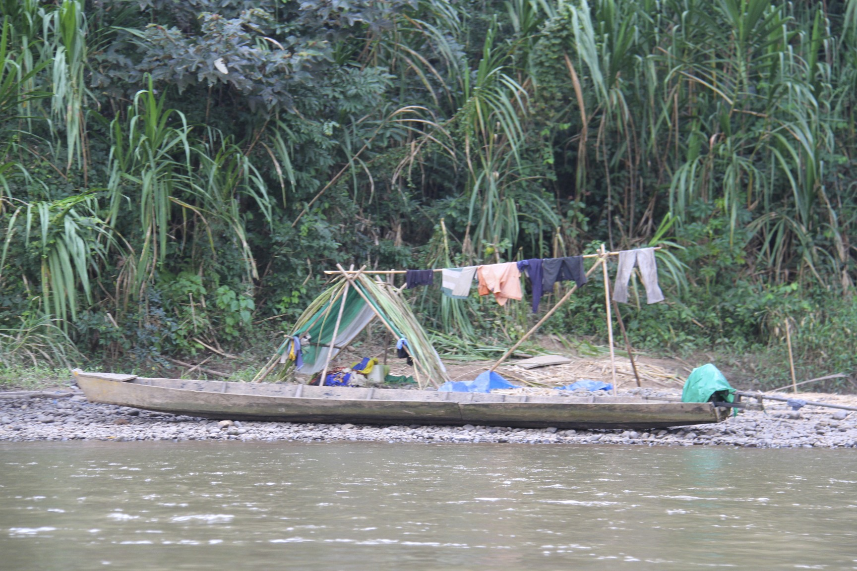 Canoe and washing, Rio Tuichi, Amazon, Bolivia