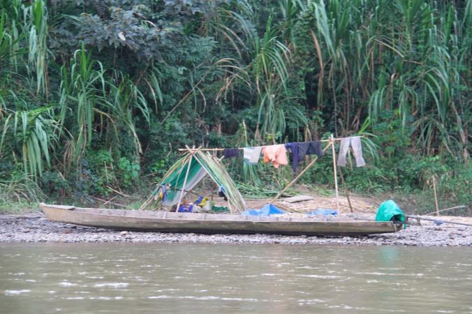 Canoe and washing, Rio Tuichi, Amazon, Bolivia