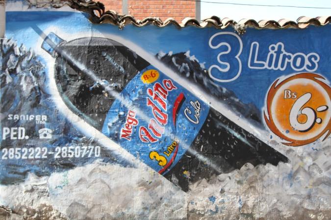 Street advertising, La Paz, Bolivia