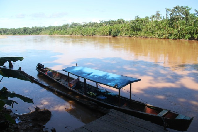 Boat mooring at the Madidi National Park, Bolivia