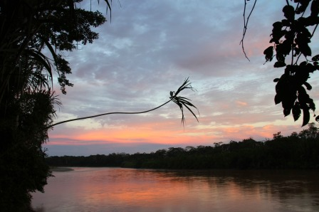 Sunset, Rio Tuichi, Amazon, Bolivia