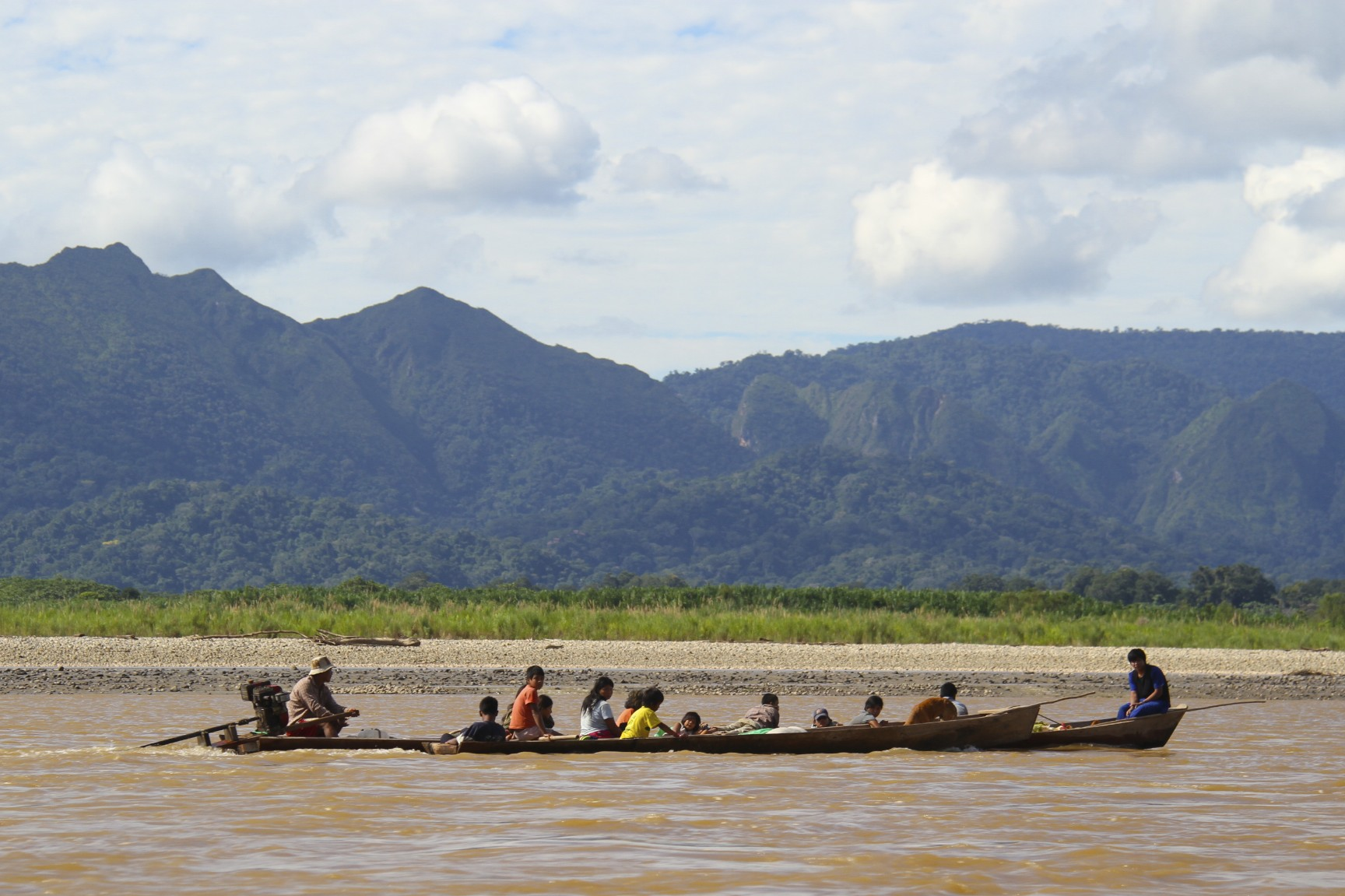 Canoe and people, Rio Beni, Amazon, Bolivia