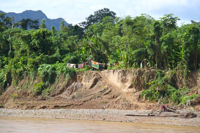 Clothes drying, Rio Beni, Amazon, Bolivia