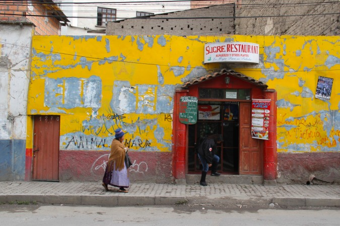 La Paz street scene, Bolivia