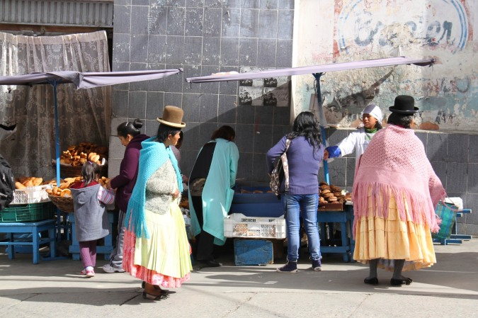 Bowler-hatted Chollas in La Paz, Bolivia
