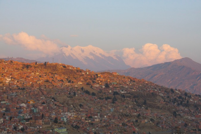 Houses and Illimani at sunset, La Paz, Bolivia