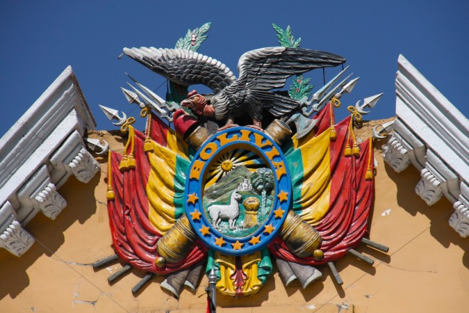 Bolivian coat of arms, Plaza Murillo, La Paz, Bolivia
