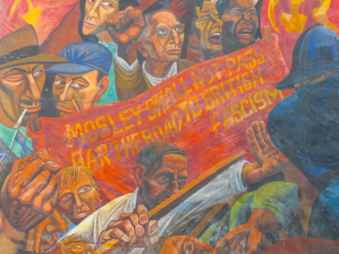 Mural commemorating the Battle of Cable Street, London, England