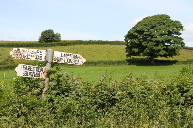Old signpost to Farleton, Cumbria, England