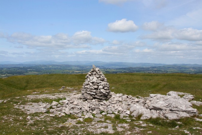 Limestone cairn on the top of Farleton Knott, Cumbria, England