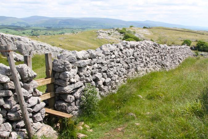 Limestone wall on the top of Farleton Knott, Cumbria, England