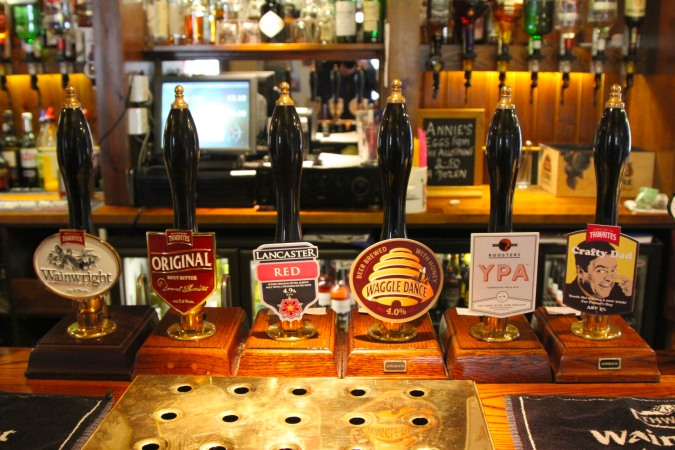 Real ales in The King's Arms pub, Burton-in-Kendal, Cumbria, England