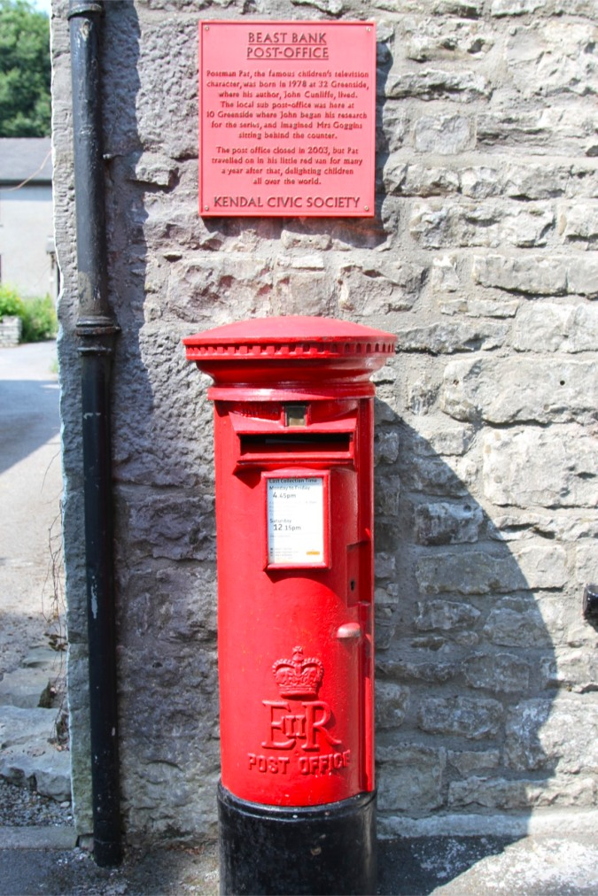 Plaque and postbox dedicated to Postman Pat, Kendal, Cumbria, England