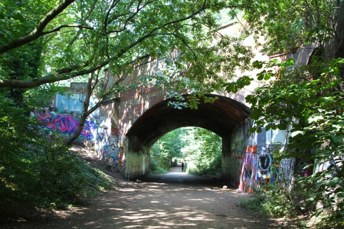 The former railway line linking Finsbury Park and Highgate, London, England
