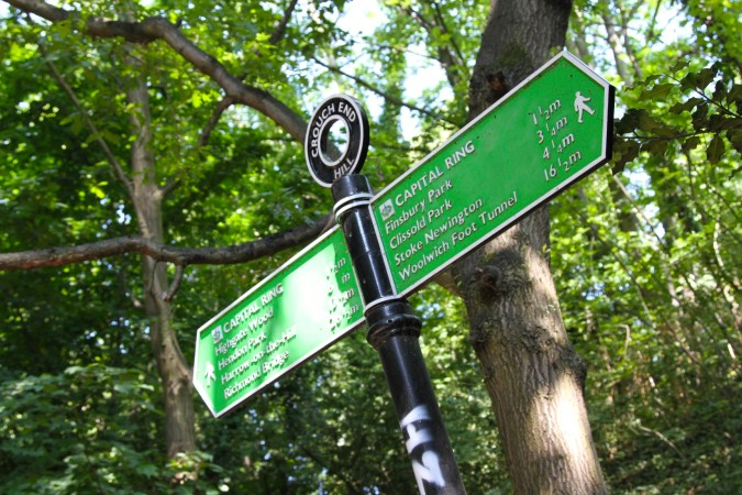 Sign between Finsbury Park and Highgate, London, England