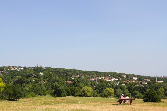 The view back to Highgate from Parliament Hill, Hampstead Heath, London, England