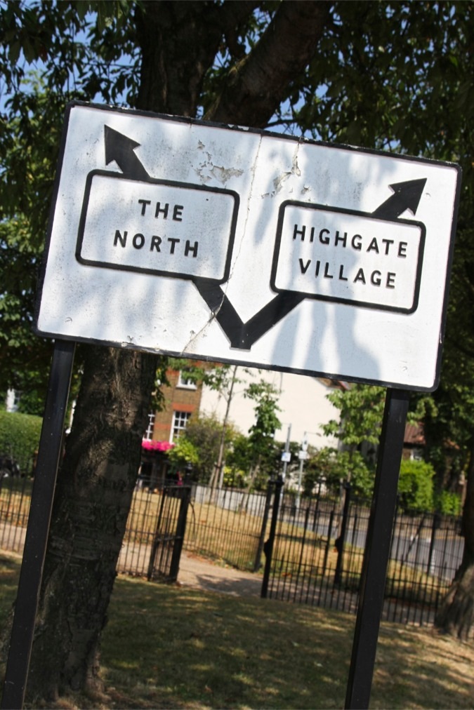 Road sign, Highgate, London, England