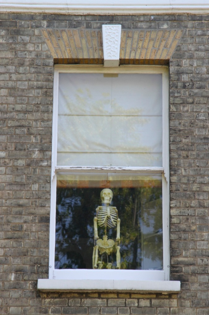 Skeleton in a window, Highgate, London, England