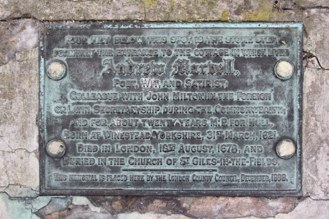 Plaque to Andrew Marvell, Highgate, London, England