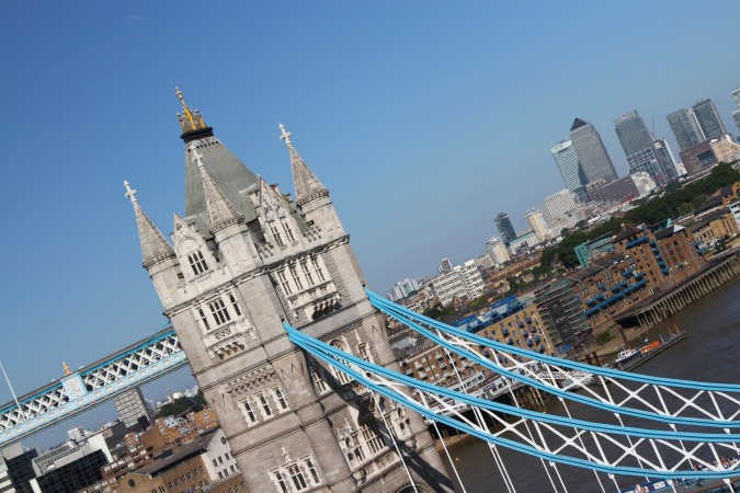 The view of Tower Bridge and Canary Wharf from City Hall, London, England