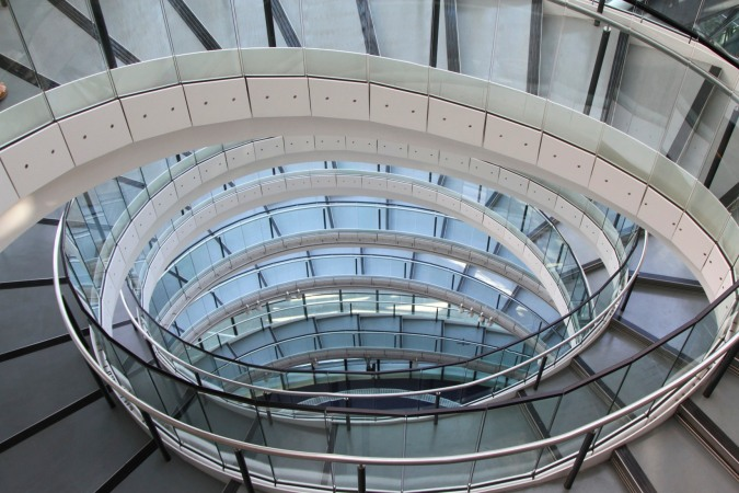Helix-shaped staircase in London's City Hall, London, England