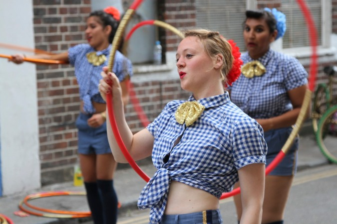 Hula-hooping, Whitecross Street Party, London, England