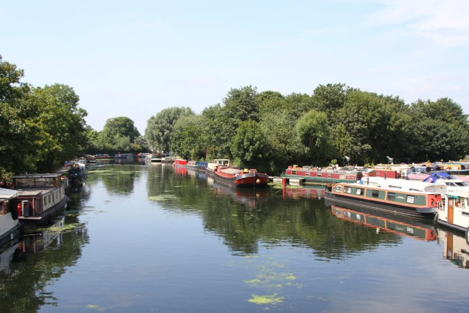 Canal boats on the Lee Navigation, Lee Valley Park, London, England