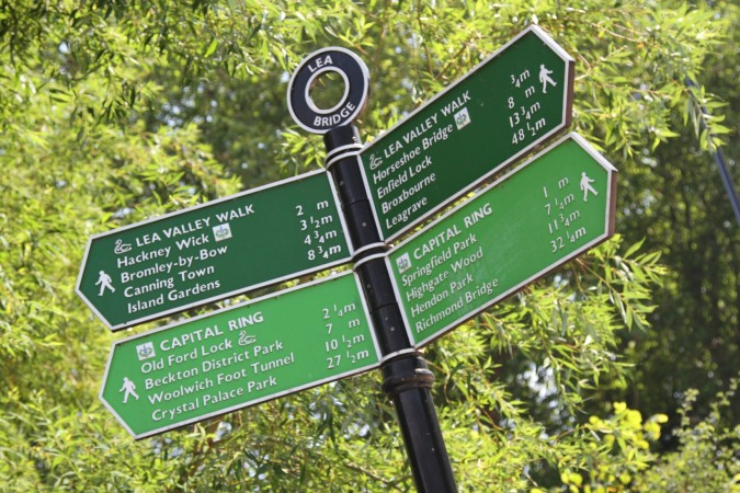 Signpost on the Lee Navigation, Lee Valley Park, London, England