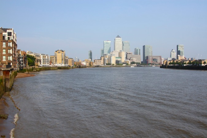 Canary Wharf and River Thames, London, England