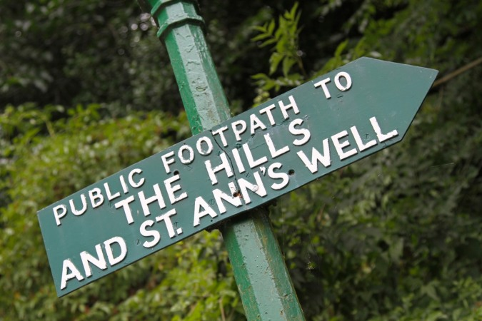Footpath sign in Malvern, Worcestershire, England