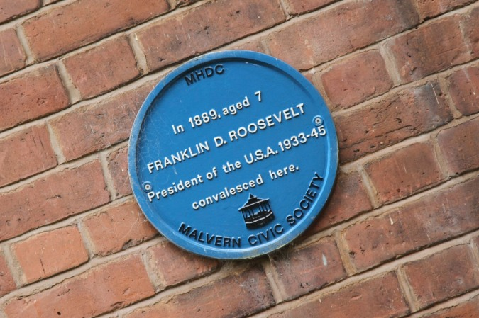 Plaque to Franklin D. Roosevelt, Malvern, Worcestershire, England