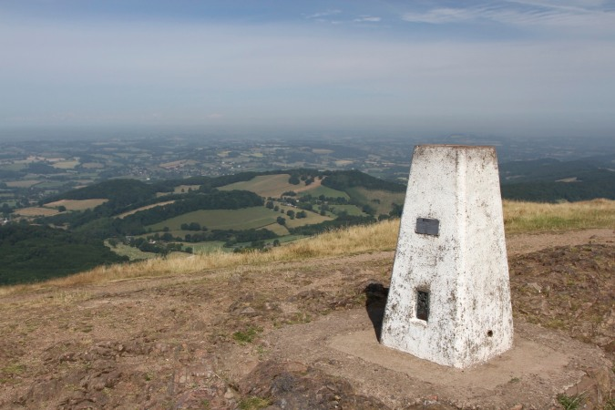 Trig point on the Worcestershire Beacon, Malvern Hills, Worcestershire