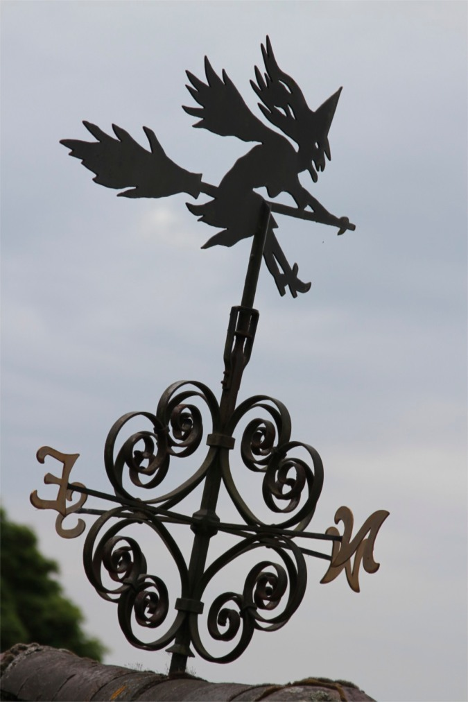 Witch weather vane at Upper Wyche, Malvern Hills, Worcestershire