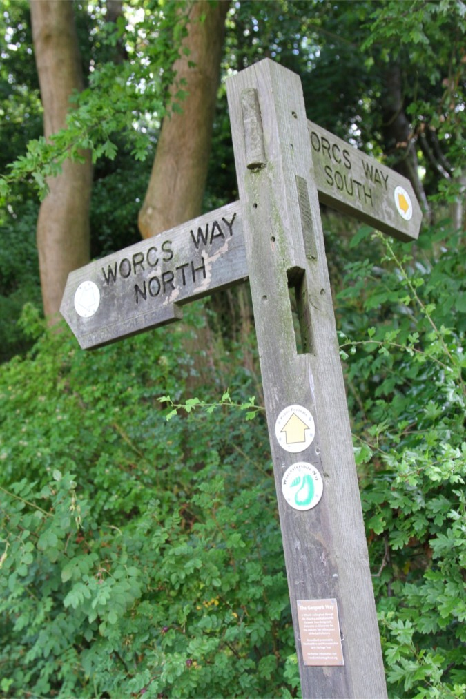 Worcestershire Way signpost, Worcester, England