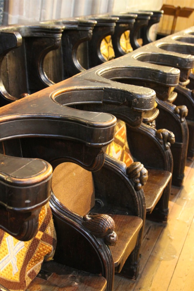 Choir stalls, Malvern Priory, Malvern, Worcestershire, England