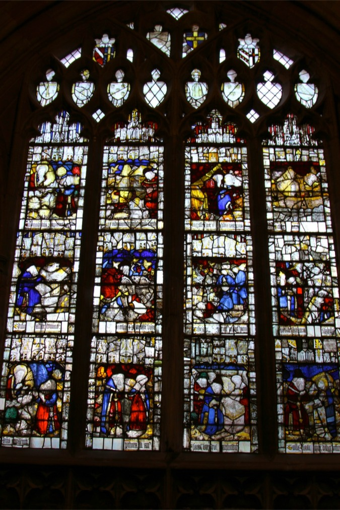 Medieval stained glass window, Malvern Priory, Malvern, Worcestershire, England
