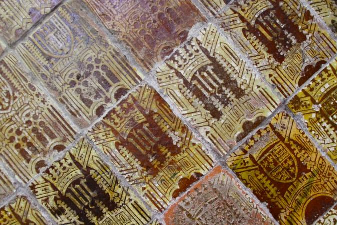 Medieval tiles, Malvern Priory, Malvern, Worcestershire, England